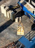 Crane lifting the radioactive instrument transportation wooden box photo