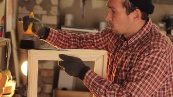 Man Work with Wood, Carpenter at Work video