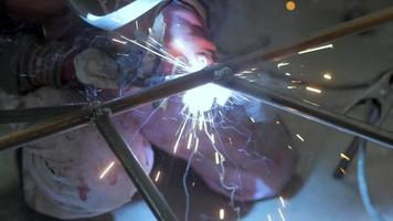 Workers in A Welding Mask video