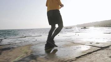 Young Male Runner Training Outdoors video