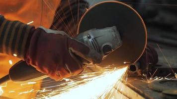 Worker Using a Grinder in A Workshop video