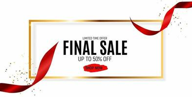 Final Sale Banner Template with Ribbon. Vector Illustration