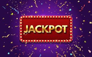 Jackpot background with falling gold confetti. Casino or lottery vector