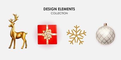 ciervo dorado, caja de regalo, copo de nieve y bola decoración 3d para navidad vector