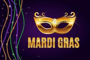 Greeting card template with beads for Mardi Gras for decoration vector