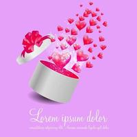 Valentines Day Card with Gift Box and Heart Shaped Balloons vector