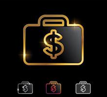 Golden Dollar Money and suitcase Bag Symbol Vector Sign