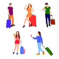 Set of flat full height isolated characters traveling with baggage vector