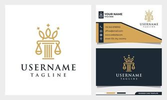 Law firm, attorney, pillar and elegance crown line art style logo vector