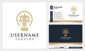 Law firm, attorney, pillar and Light bulb line art style logo design vector