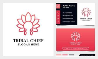 Tribal chief Head With Flower Leaf Concept vector