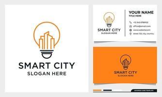 Light Bulb with line art Building Logo Design vector