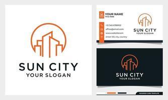 Sun with line art Building Logo Design vector