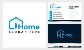 Home open door, building, real estate agency abstract business logo vector