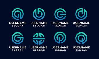 logotipo inicial del círculo, conjunto de plantilla de diseño de logotipo de monograma de letra vector