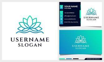 Lotus, magnolia flower line art style logo design vector