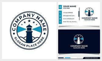 badge lighthouse logo design with business card template vector