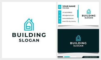 building logo design with letter B initial concept and business card vector