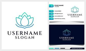 Lotus, magnolia flower line art style with water drop concept logo vector