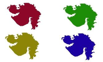 Gujarat country map silhouette in India vector