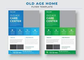 plantilla de volante de cuidado de personas mayores, el mejor folleto de hogar de cuidado de personas mayores vector