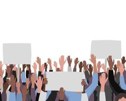 Hands up pattern with banners. Public protest illustration vector