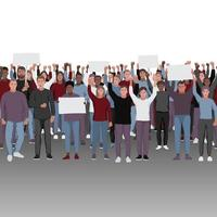 Protesting people with fists raised seamless border. vector