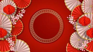 Red and white banner with sakura, paper flowers, fans and lanterns vector