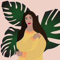 Beautiful woman with long hair surrounded by tropical leaves vector