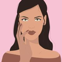 Brunette girl with beautiful eyes and lips vector
