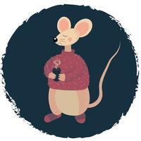 Cartoon Mouse with a mug of hot tea vector