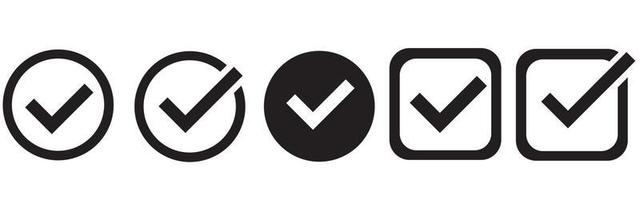 Check mark set icon. Simple web buttons. Checkmarks and confirm. vector