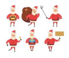 Vector Merry Christmas, Happy New year congratulation. Santa Claus