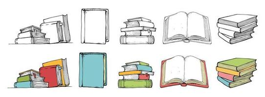 Doodle book collection in color and black style. Hand drawn vector