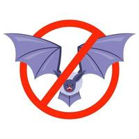 bat prohibition sign. the spread of disease from bats. vector