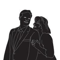 Ilustración de silueta de personaje de amistad sobre fondo aislado. vector