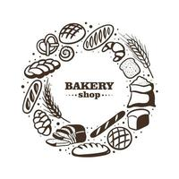 Bakery shop illustration with different bread and roll. Vector