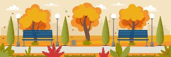 Autumn landscape with benches in the park and yellowed trees vector