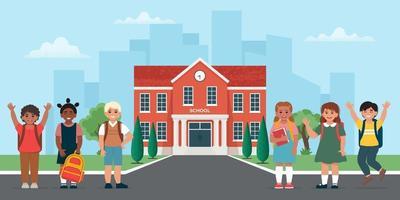 Children near school building. Back to school. Vector illustration