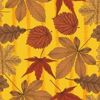 Autumn leaves bright seamless pattern in vintage style. Vector
