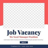 plantilla de publicación de redes sociales de diseño de feed de vacantes de trabajo vector