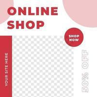 plantilla de publicación de redes sociales de diseño de feeds de tienda en línea de venta de año nuevo vector