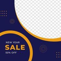plantilla de publicación de redes sociales de diseño de feed de venta de año nuevo vector