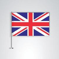 United kingdom flag with metal stick vector