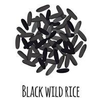 arroz salvaje negro para el diseño, la etiqueta y el embalaje del mercado del granjero de la plantilla. vector