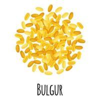 bulgur para el diseño, la etiqueta y el embalaje del mercado del granjero de la plantilla. vector