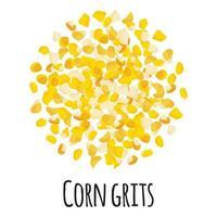 sémola de maíz para el diseño, la etiqueta y el embalaje del mercado del granjero de la plantilla. vector