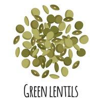 lentejas verdes para el diseño, la etiqueta y el embalaje del mercado del granjero de la plantilla. vector