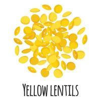 lentejas amarillas para el diseño, la etiqueta y el embalaje del mercado del granjero de la plantilla. vector
