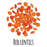 lentejas rojas para el diseño, la etiqueta y el embalaje del mercado del granjero de la plantilla. vector